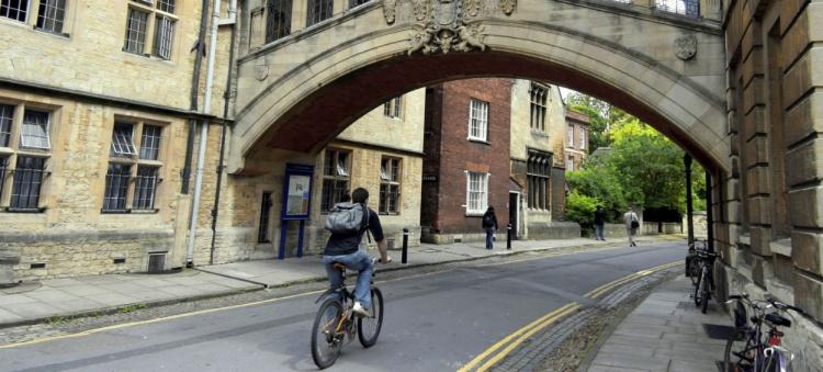 Student biking in Europe
