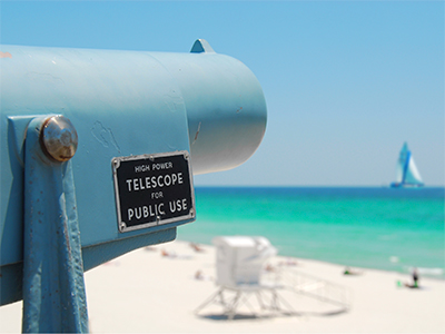 Telescope at Panhandle beach in Florida